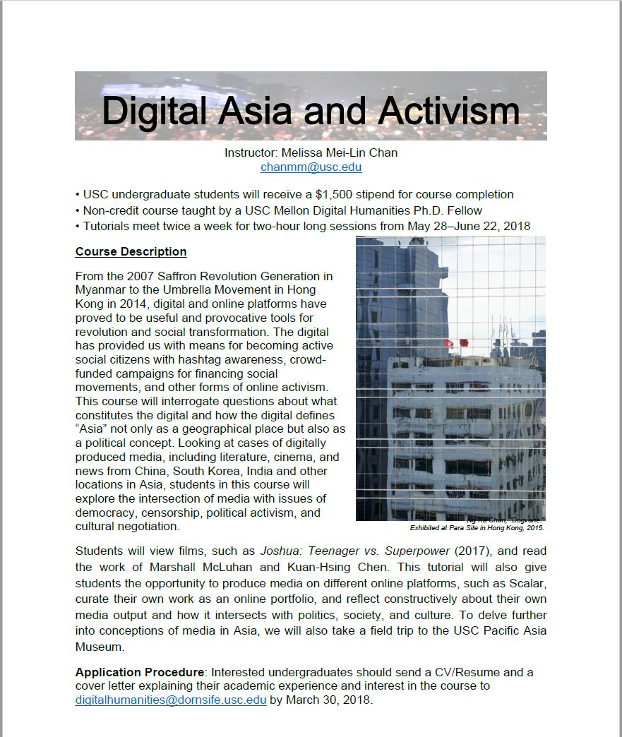 Summer Tutorial Flyer_Digital Asia and Activism